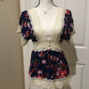 WetSeal- Lace Embroidered Cute Floral Top